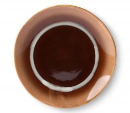 Afbeelding van product: HKliving Stream 70's dessert bord Ø 17,5 cm set van 2 keramiek bruin/peach/wit
