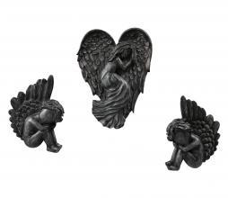 Afbeelding van product: BePureHome Angels set van 3 deco metaal zwart