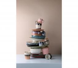 Afbeelding van product: HKliving Bark 70's bord Ø 22 cm set van 2 keramiek beige/bruin