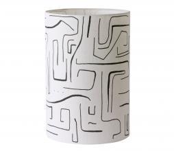 Afbeelding van product: HKliving Printed lampenkap lijnenspel ø25 cm wit/zwart
