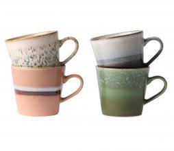 Afbeelding van product: HKliving 70's cappuccino mokken set van 4 aardewerk multicolor