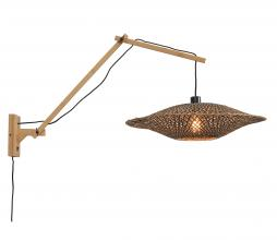 Afbeelding van product: Selected by Bali wandlamp aan arm bamboe naturel/zwart