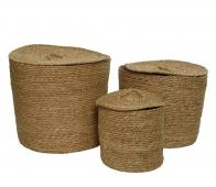 Selected by Lisdodde set van 3 manden zeegras bruin