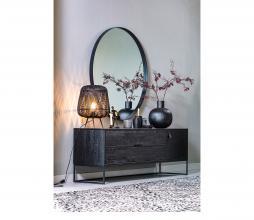 Afbeelding van product: WOOOD Doutzen spiegel metaal zwart, div. afmetingen Ø 80 cm