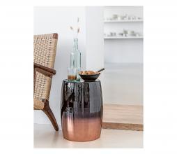 Afbeelding van product: vtwonen Dip-dye kruk Ø31cmmetaal zwart/koper