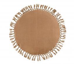 Afbeelding van product: Zusss rond kussen met kwastjes Ø45 cm katoen khaki