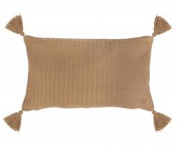 Afbeelding van product: Zusss kussen met kwastjes 55x30 cm katoen khaki