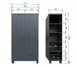 Afbeelding van product: Basiclabel Dennis kast met lades en leren greep 202x111x55 cm grenen staalgrijs