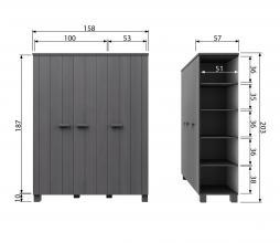 Afbeelding van product: Basiclabel Dennis 3-deurskast 202x158x55 cm grenen met leren greep staalgrijs