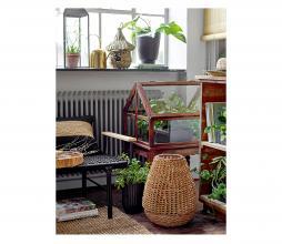 Afbeelding van product: Selected by Nature lantaarn met glas palmbladeren bruin