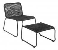 Selected by Mundo loungestoel met kruk (binnen-buiten) metaal zwart
