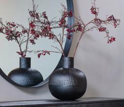 Afbeelding van product: WOOOD Exclusive Pixie vaas verticale lijnen metaal zwart