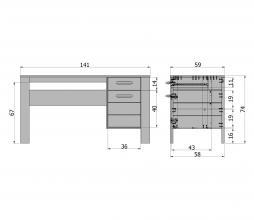 Afbeelding van product: Basiclabel Dennis bureau grenen met leren greep staalgrijs