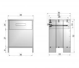 Afbeelding van product: Basiclabel Dennis nachtkastje met leren greep staalgrijs