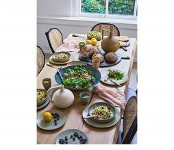 Afbeelding van product: HKliving pot met handvat m keramiek wit gespikkeld