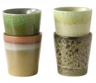 HKLiving Spring 70's mokken set van 4 keramiek groentinten