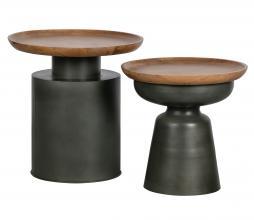 Afbeelding van product: WOOOD Dua bijzettafel Ø53 cm hout/metaal bruin/zwart