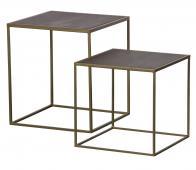 BePureHome Nest set v. 2 bijzettafels hout/metaal bruin/antique brass