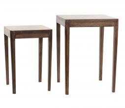 Afbeelding van product: Selected by Stijn set v. 2 bijzettafels hout midden - 45x30x30+53x38x38cm