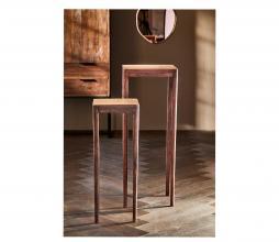 Afbeelding van product: Selected by Stijn set v. 2 bijzettafels hout hoog - 80x30x30+100x39x39cm