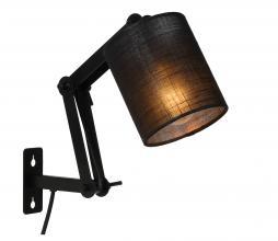 Afbeelding van product: Selected by Tampa wandlamp Ø12 cm linnen/metaal zwart