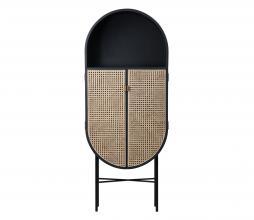 Afbeelding van product: HKLiving Retro ovale opbergkast 160x65x30 cm webbing zwart
