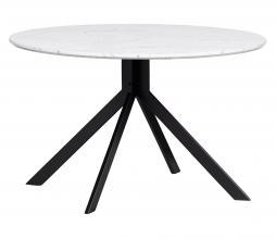 Afbeelding van product: WOOOD Exclusive Bruno eettafel Ø120 cm MDF marmerlook wit/zwart