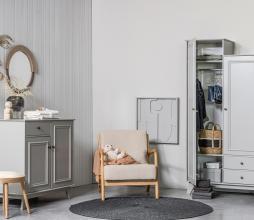Afbeelding van product: WOOOD Lily garderobekast 190x98x41cm grenen kleigrijs