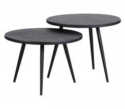 Afbeelding van product: WOOOD Suze bijzettafels set v. 2 (binnen-buiten) hout/metaal zwart