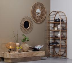 Afbeelding van product: Basiclabel Obi ronde spiegel bamboe Ø76 naturel