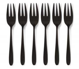 Afbeelding van product: vtwonen Set van 6 gebaksvorkjes metaal mat zwart